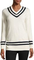 Frame Varsity V-Neck Sweater, Blanc/Navy