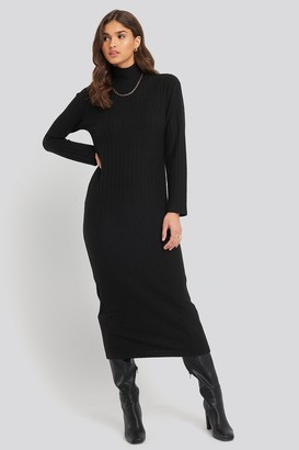 NA-KD High Neck Ribbed Ankle Length Knitted Dress