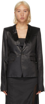 Rick Owens Black Satin Soft Blazer