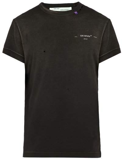 Off-White Vintage 1970s Cotton Jersey T Shirt - Mens - Black