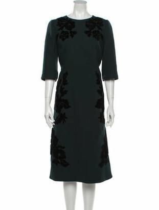 Dolce & Gabbana Floral Print Midi Length Dress Green