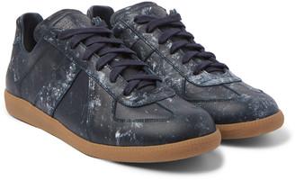 Maison Margiela Replica Paint-Splattered Leather Sneakers