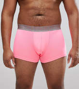 Asos Plus Trunks In Neon Pink With Glitter Waistband