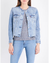 Levi's Ladies Black Cropped Iconic Altered Trucker Denim Jacket