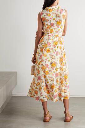 Saloni Vanessa Belted Floral-print Crepe De Chine Midi Dress - Ivory