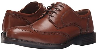 Johnston & Murphy Tabor Casual Dress Wingtip Oxford (Tan Calfskin) Men's Lace Up Wing Tip Shoes