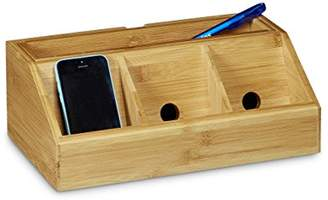 Camilla And Marc Relaxdays Bamboo Desk Organiser Size: approx 11 x 30 x 17.5 cm Including Cell Mobile Phone Holder Charging Station Docking Station Storage Box For Your Desk or Office W/5 Compartments, Natural Brown