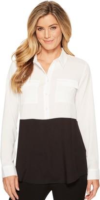 Calvin Klein Women's Colorblock Button Down Tunic