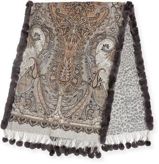 Gorski Paisley & Leopard Print Double Face Cashmere w/ Fur Trim