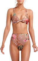 Vitamin A Lou Floral Tie-Front Bust-Enhancing Bikini Top