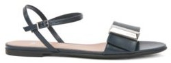 HUGO BOSS Italian-made sandals in calf leather with pyramid hardware