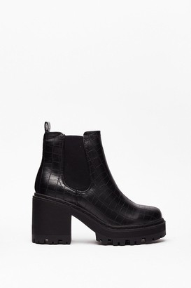 Nasty Gal Womens Chelsea Dagger Wide Fit Heeled Boot - Black