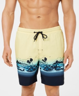 """Club Room Men's Tropical Quick-Dry 7"""" Swim Trunks, Created for Macy's"""