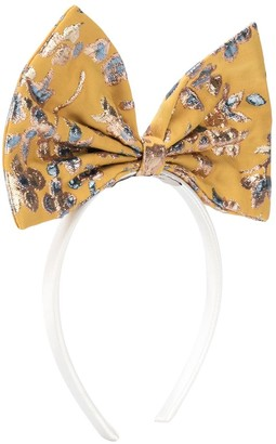 Hucklebones London Metallic-Jacquard Bow Hairband