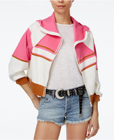 Free People Stripes For Days Zip-Up Hooded Sweater