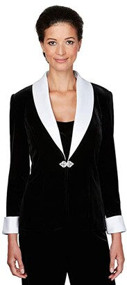 Alex Evenings Velvet Twinset w/ Contrast Satin Contrast Collar and Cuffs (Black/White) Women's Clothing