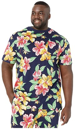 Polo Ralph Lauren Big & Tall Short Sleeve Vintage Hibiscus Crew T-Shirt (Vintage Hibiscus Navy) Men's Clothing