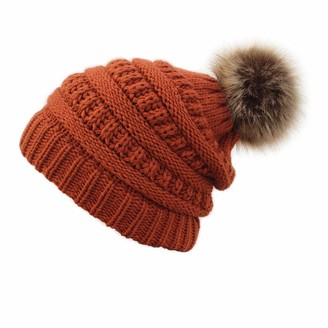 Skcnite Winter Beanie Hat for Women Warm Knit Cap for Ladies with Thick Fleece Lined and Detachable Faux Fur Pom Pom Hats