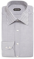Tom Ford Windowpane-Pattern Silk Dress Shirt, Black/White