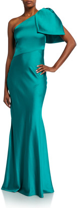 Sachin + Babi Aubrey Bow-Shoulder Charmeuse Gown