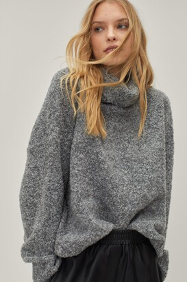 Nasty Gal Womens Oversize Turtleneck Jumper in a Fluffy Knit - Grey - One Size