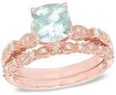 Zales Precious BrideTM 7.0mm Cushion-Cut Aquamarine and 1/3 CT. T.W. Diamond Bridal Set in 14K Rose Gold