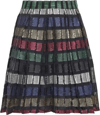 Dodo Bar Or Metallic Pleated Fil Coupe Organza Mini Skirt
