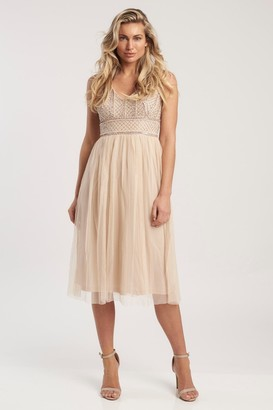 Lace & Beads V neck hand embellished Midi Dress with tulle skirt