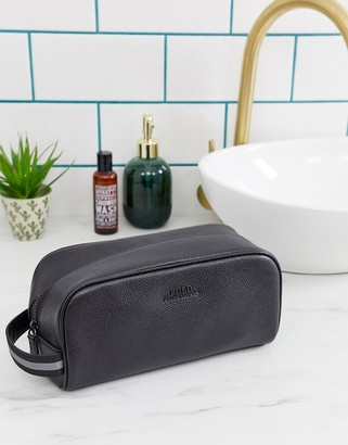 Polo Ralph Lauren leather washbag in black with logo