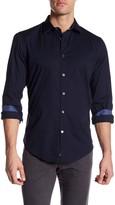 Ganesh Modern Fit Novelty Trim Solid Stretch Navy Shirt