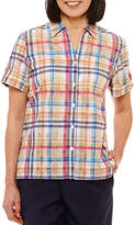 Alfred Dunner Classics Relaxed Fit Short Sleeve Plaid Button-Front Shirt