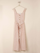 Indi & Cold - Striped Dungaree Dress with Square Neck - Size XS | viscose