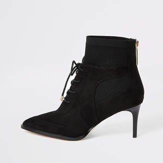 River Island Black knitted lace-up heeled boots