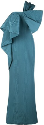 Oscar de la Renta Bow Detail One-Shoulder Taffeta Gown