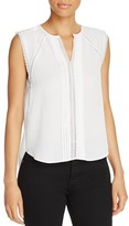 T Tahari Norma Lace Trim Pleated Top