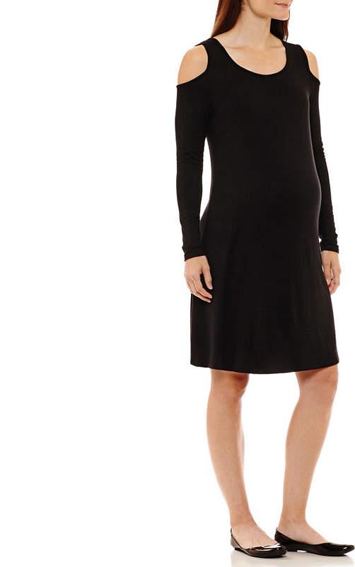 Cold Shoulder Solid Dress - Maternity