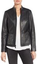 Elie Tahari Women's Laser Cut Leather Jacket