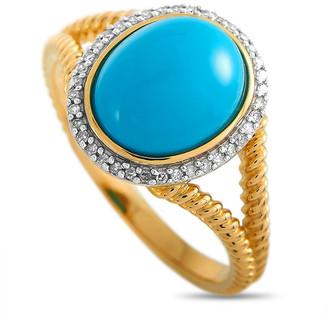Non Branded Lb Exclusive 14K 0.11 Ct. Tw. Diamond & Turquoise Ring