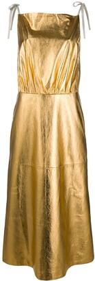 Prada Metallic Sheen Pleated Dress