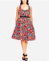 City Chic Plus Size Floral-Print Halter Fit & Flare Dress