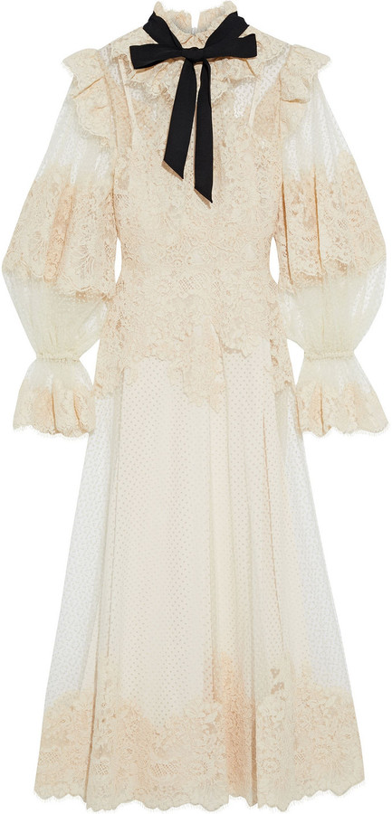 Zimmermann Espionage Ruffled Corded Lace And Flocked Tulle Midi Dress