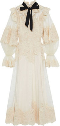 Zimmermann Ruffle-trimmed Flocked Corded Lace And Tulle Midi Dress