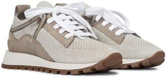 Brunello Cucinelli Embellised suede sneakers