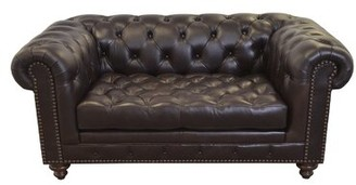 "Cambridge Silversmiths Genuine Leather Chesterfield 74"" Rolled Arm Sofa Westland and Birch Fabric: Brompton Brown"