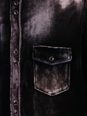 Saint Laurent Distressed Button-down Shirt Navy/bleach