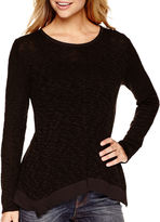 JCPenney A.N.A a.n.a Long-Sleeve Woven-Back Textured Knit Top