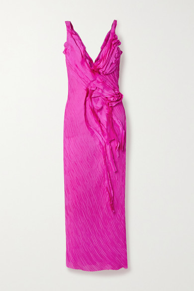 Thumbnail for your product : Jason Wu Collection Ruffled Crinkled Silk-georgette Maxi Dress - Fuchsia