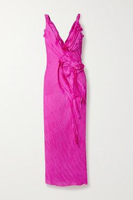 Jason Wu Collection Ruffled Crinkled Silk-georgette Maxi Dress - Fuchsia