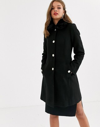 Lipsy black wool coat with fur collar in black
