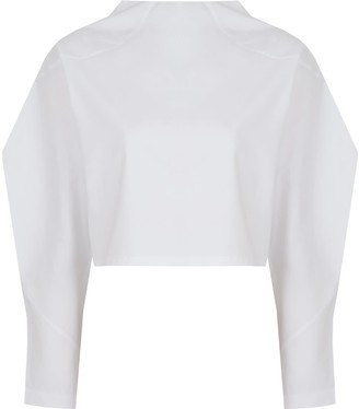 Mirimalist Angle Open Back Top In White Cotton